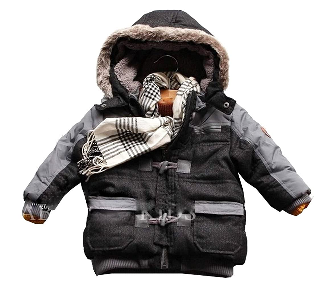 Infant Baby Little Boys Coats Thick Winter Warn Fleece Hooded Outerwear
