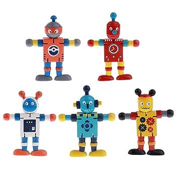 6pcs Flexible Wooden Walnut Puppets Robots Action Figure Toys Developmental