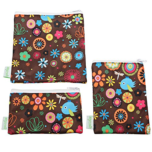 Wegreeco Reusable Snack Bags - Set of 3 (Brown Bird) (Small Snack Machine compare prices)