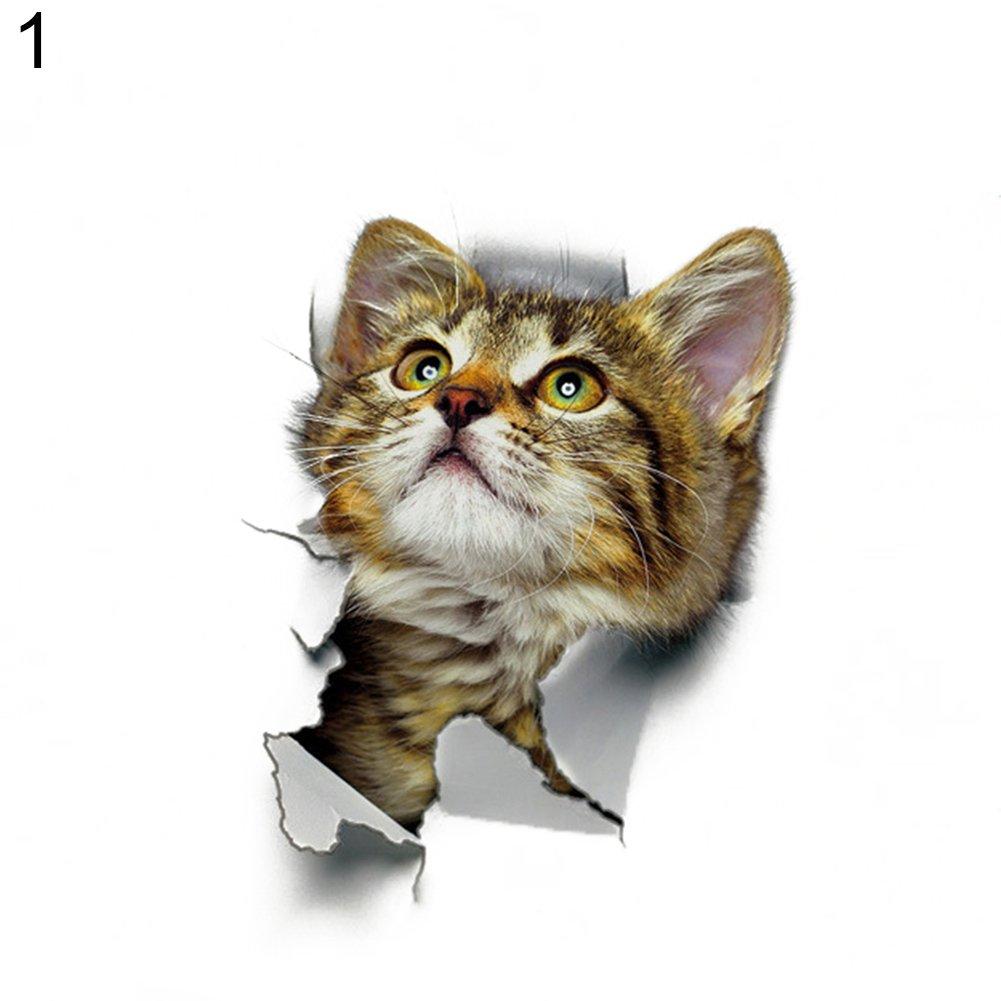 Oce180anYLV Nette 3D Gato Pared de Pegatinas decoraci/ón Cuarto de ba/ño WC Tapa Cover Pegatinas