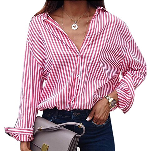Rayures T Rose Femmes pour T Rayures hellomiko Verticales Rayures Femmes Fashion Shirt ray dcontract Shirt pour ZT0OqI