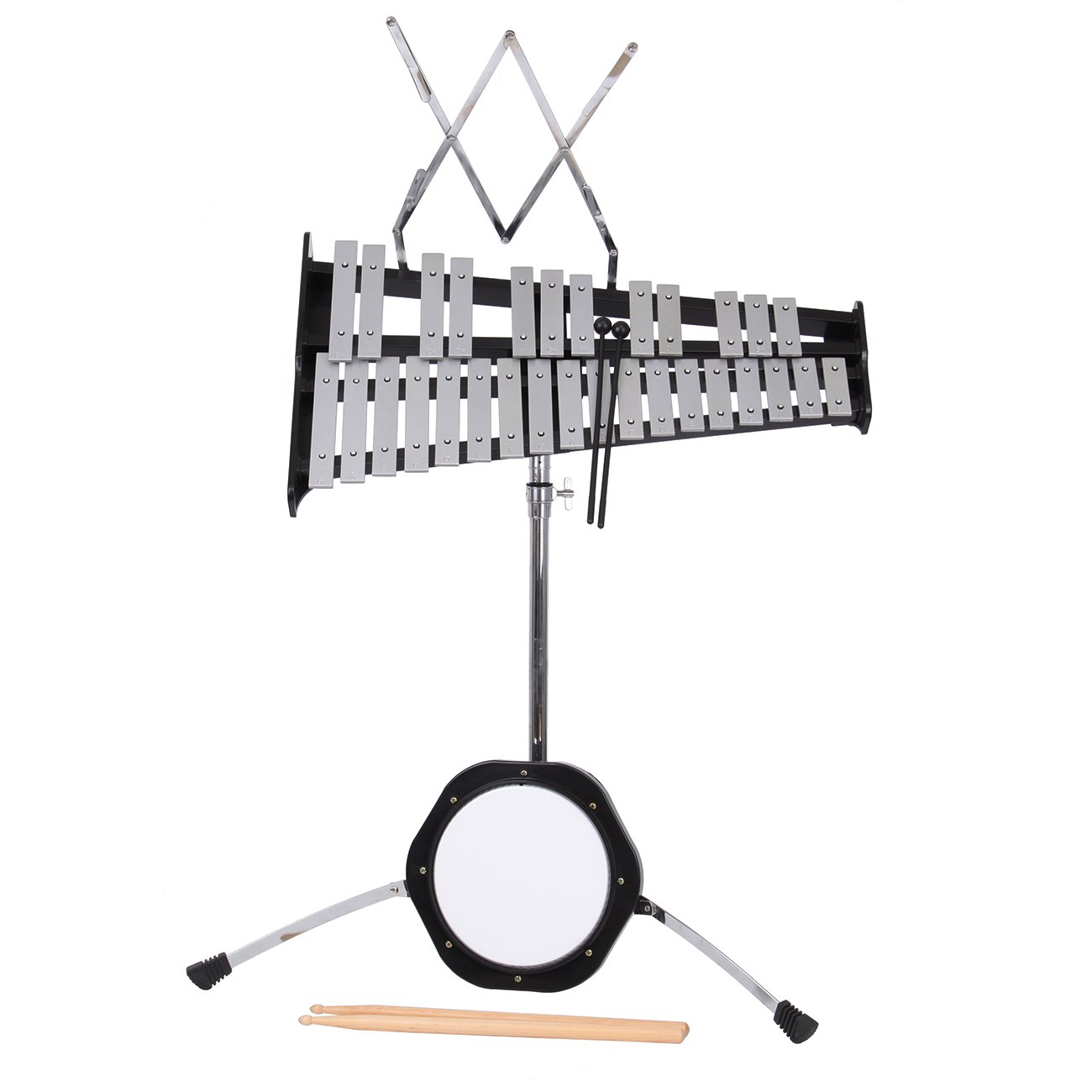 Percussion Glockenspiel Bell Kit 30 Notes w/Practice Pad, Mallets,Sticks and Stand - Ridgeyard