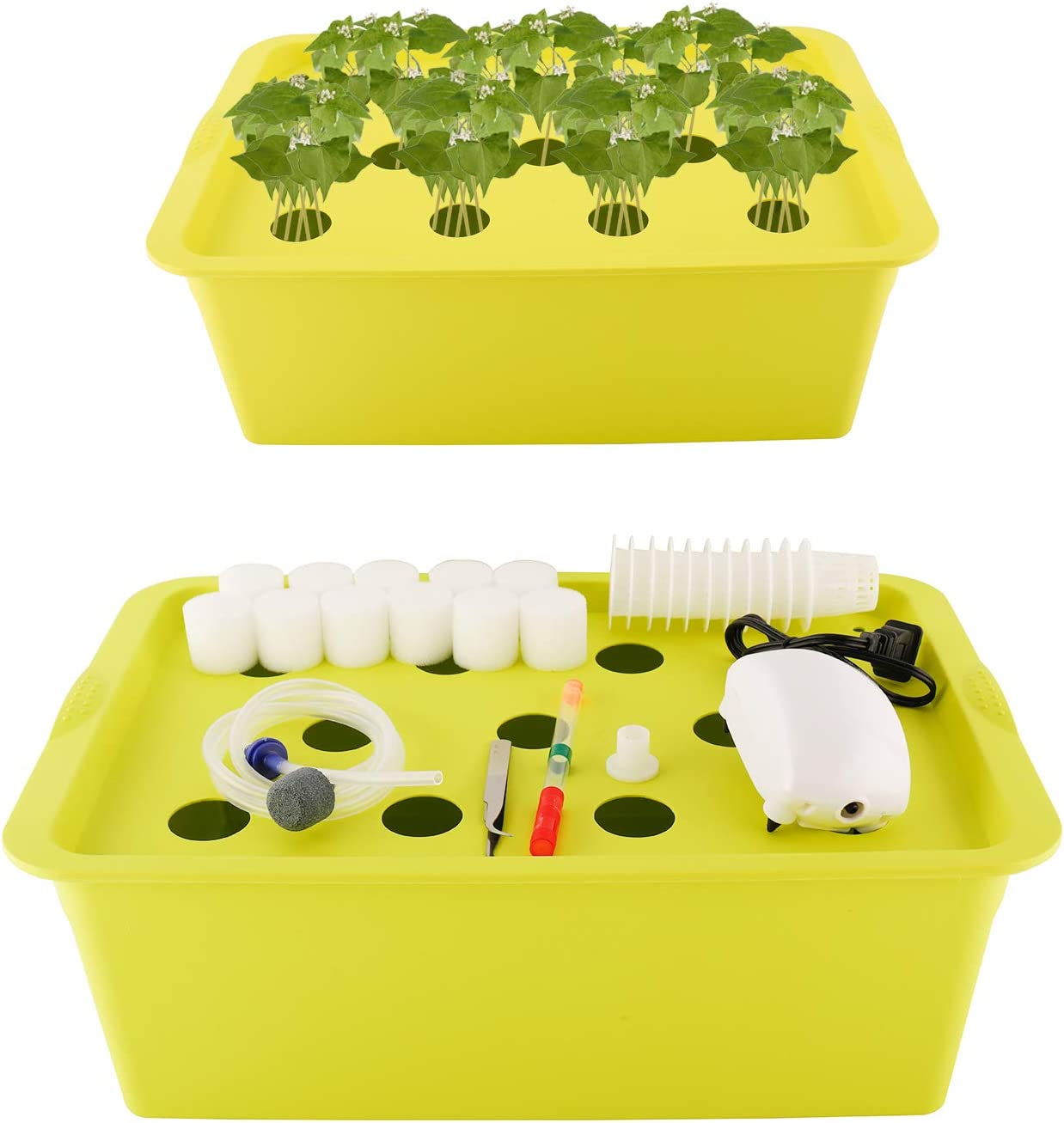 Homend Indoor Hydroponic Grow Kit with Bubble Stone, 11 Plant Sites (Holes) Bucket,Buoy,Air Pump, Planting Sponges - Best Indoor Herb Garden for Plants - Grow Fast at Home (Green)