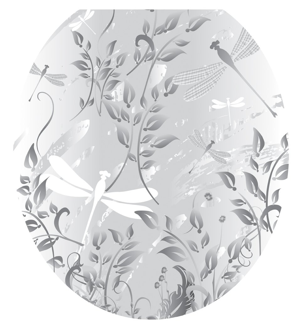 Toilet Tattoos TT-1013-R Fields of Grey Decorative Applique For Toilet Lid, Round