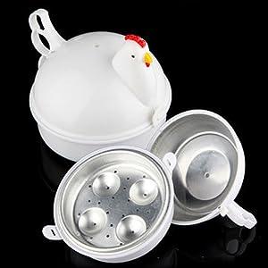 Microwave Poacher Boiled - Chicken Shaped 4 Eggs Boiler Cooker - Microwave Oven Boiler Microwave Egg Steaner Poacher Cooker Boiler - for 4 Eggs Kitchen - White
