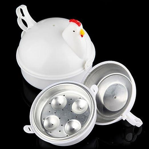 Microondas 4 huevos caldera Cocina Huevos, Woopower Electric Egg Boiler con huevos de pollo con forma de vapor caldera cocina