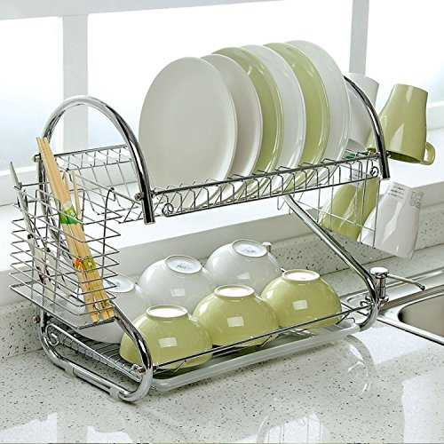 Bowl Rack (2-Tier Dish Rack and DrainBoard, 20