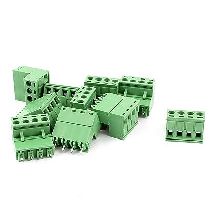 uxcell AC 300V 10A 4 Pins PCB Screw Terminal Block 5.08mm Pitch 10 Pcs Green a15051100ux0398