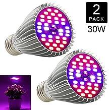 LED Grow Light Bulb Full Spectrum, EnerEco 30W Grow Light for Indoor Plant, Plant Lamp for Hydroponics Greenhouse Organic,Plant Light (E26/E27) [2 Pack]