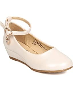 65e866266 Little Angel FI78 Leatherette Danging Charm Ankle Strap Wedge Pump (Toddler  Girl) - Ivory