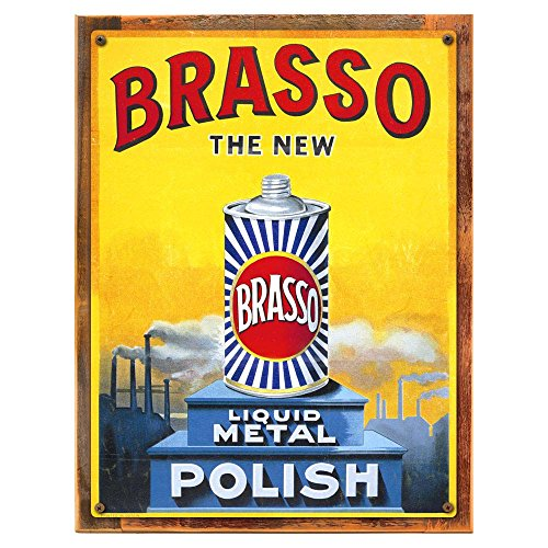 Advertisement Metal (Wood-Framed Industry and Advertisement Decor Wall Accent: Brasso Polish Metal Sign for kitchen on reclaimed, rustic wood)