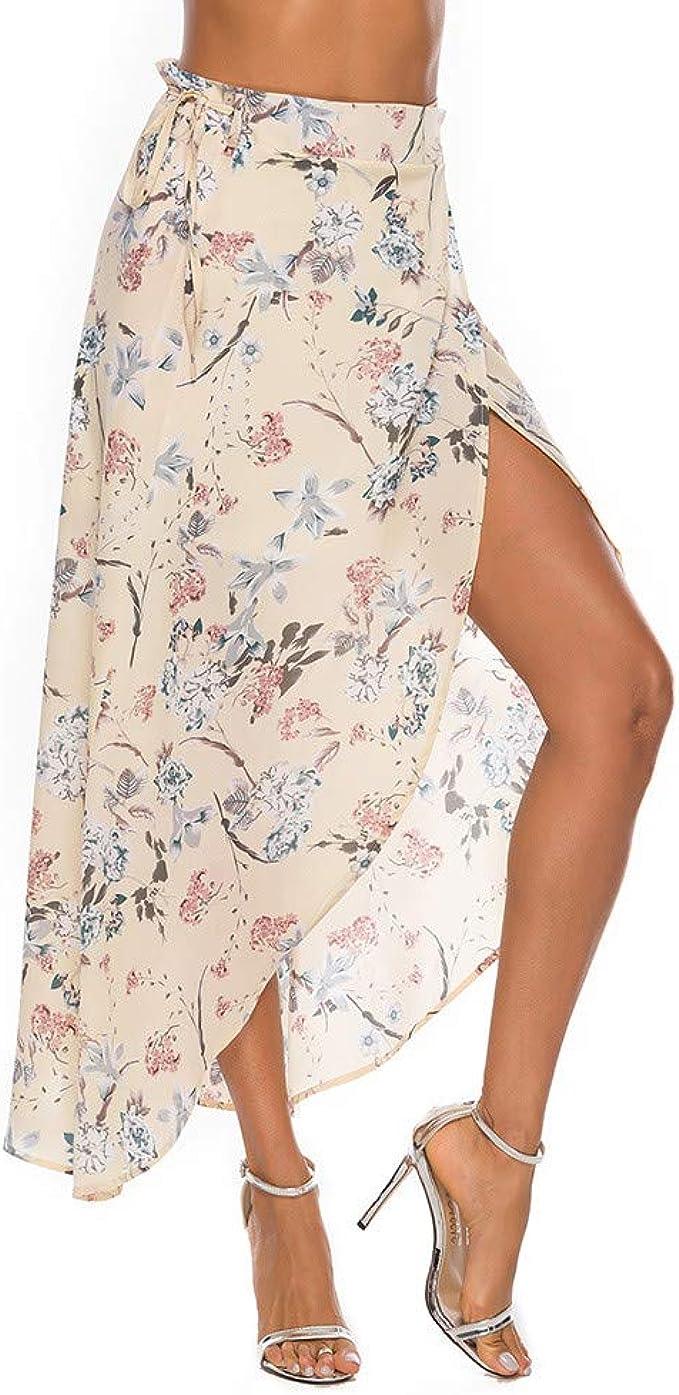 Hokoaidel Faldas para Mujer, Falda de Cintura Alta de Verano Boho ...