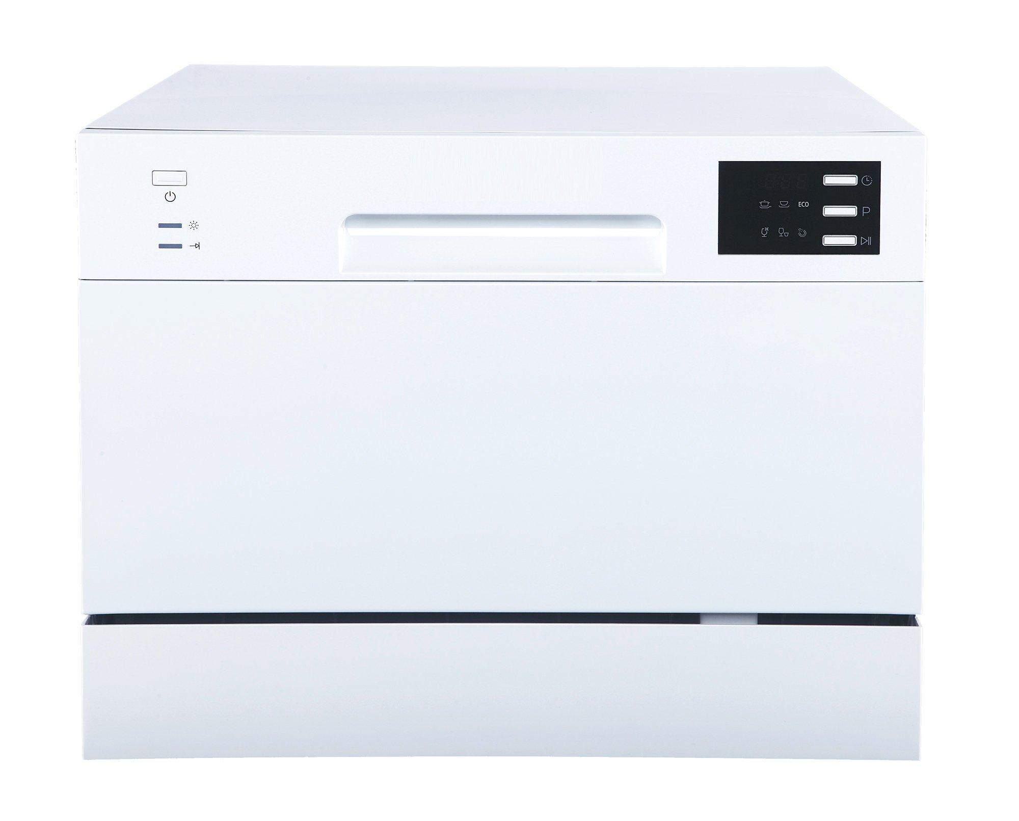 SPT SD-2225DW Countertop Dishwasher with Delay Start & LED, White, White