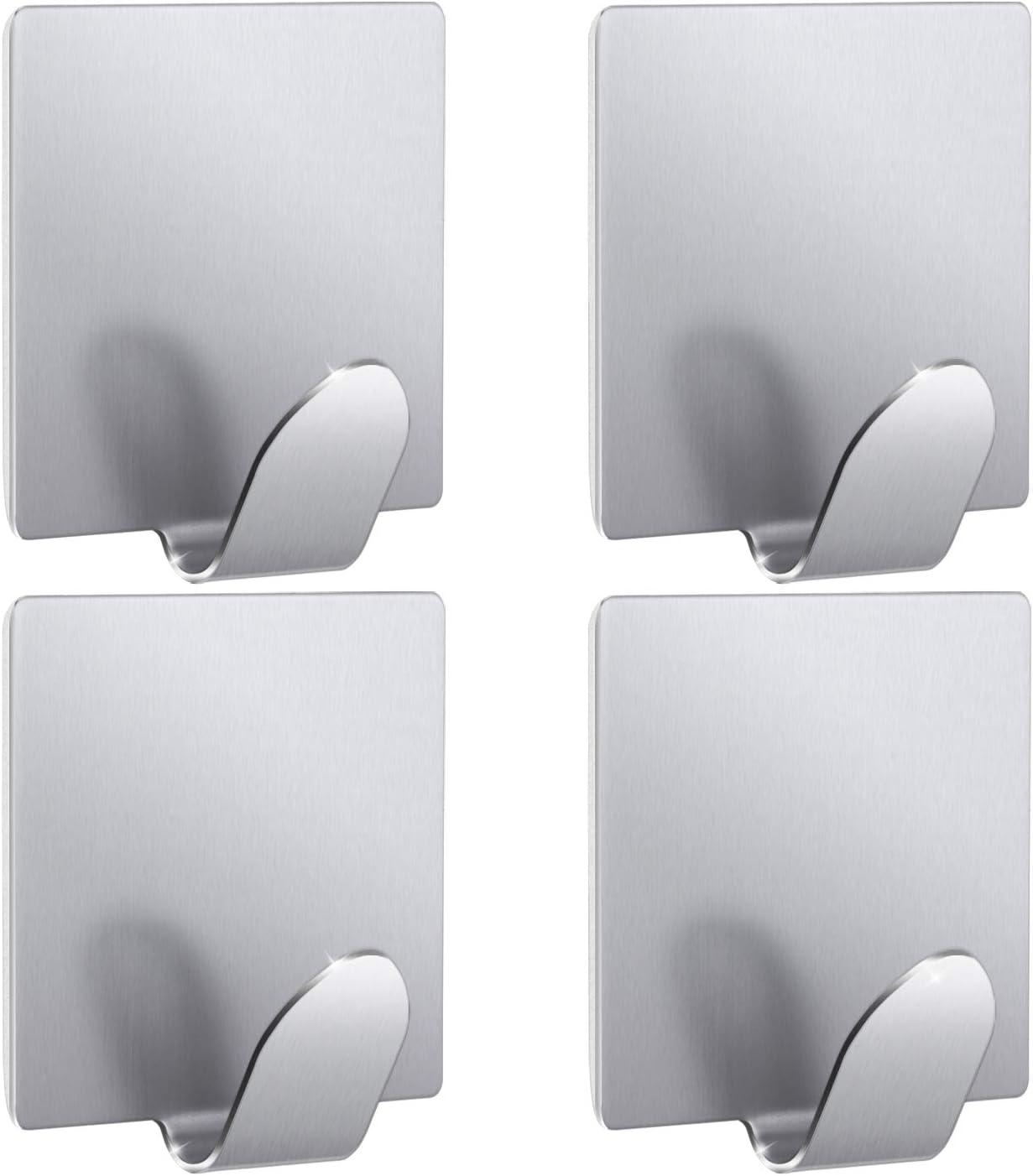 Amazon Com Towel Hooks Kone Self Adhesive Hook Stainless Steel For Bathroom Office Home Waterproof Heavy Duty Wall Hooks Rack Hanger Fit Robe Hat Keys Silver 4 Pieces Home Kitchen