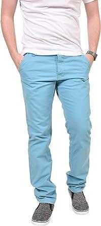 Kushiro Hombres Slim Fit Chino Pantalones de pierna recta Pantalones de algodón Jeans
