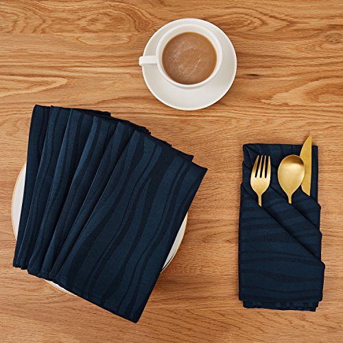 - Deconovo Soft Jacquard Damask Dinner Cloth Napkins Vibrant Waves 18 x 18 inch Stain and Spillproof Smooth Luxury Serviette for Banquets, Weddings, Family Gatherings Set of 6 Navy Blue