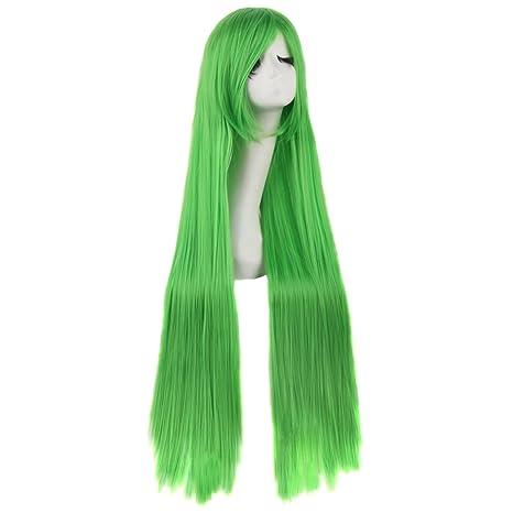MapofBeauty 100cm/39 pulgada medio lacio seorita lacio anime traje Pelucas (verde)