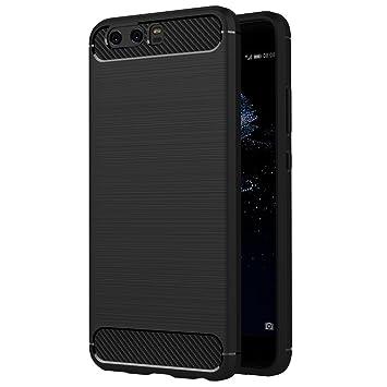 AICEK Funda Huawei P10 Plus, Negro Silicona Fundas para Huawei P10 Plus Carcasa (5,5 Pulgadas) Fibra de Carbono Funda Case