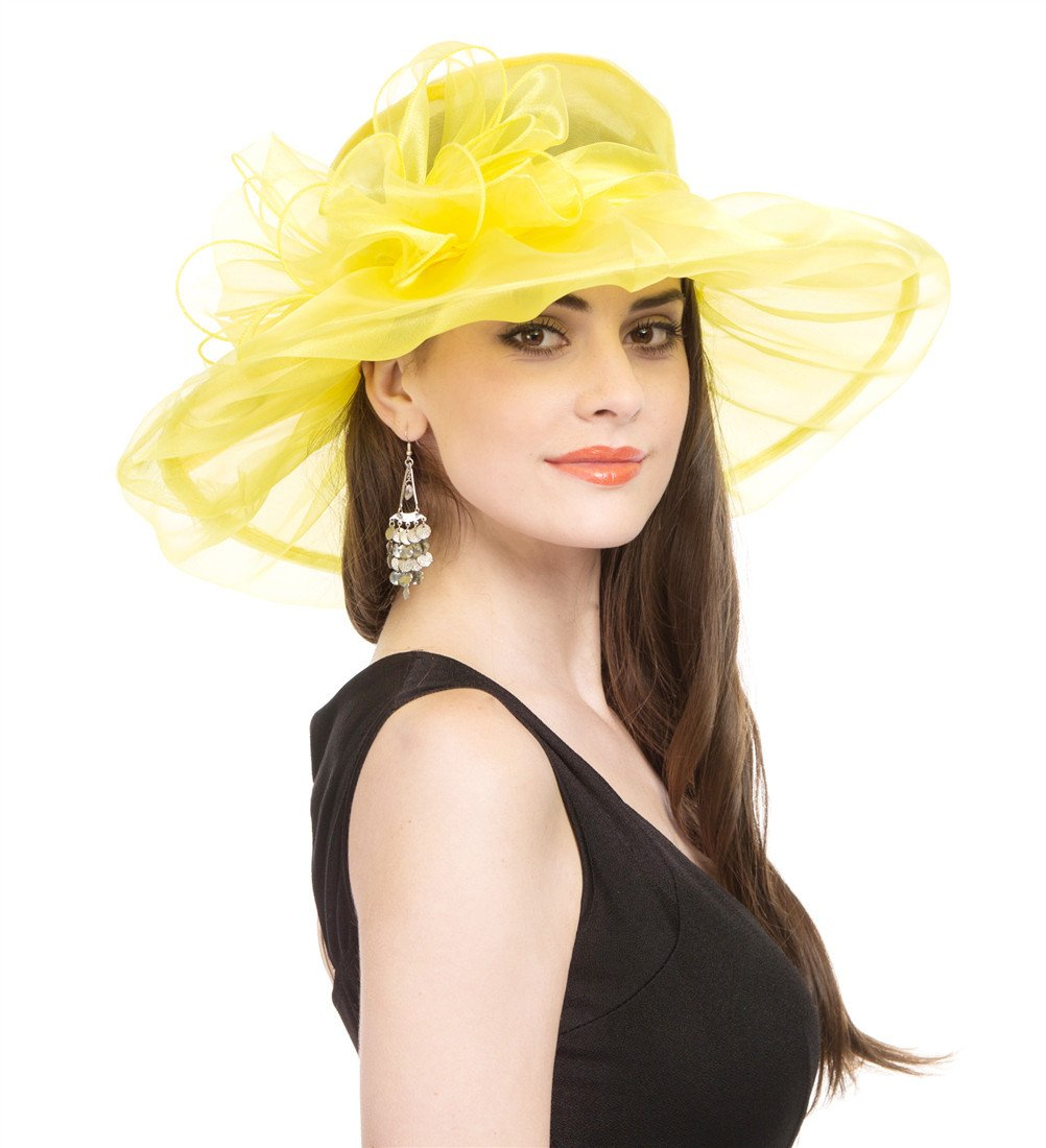 Saferin Women Dress Organza Kentucky Derby Church Wedding Wide Brim Polyester Race Top Sun Protection Hat (Yellow with Bowknot)