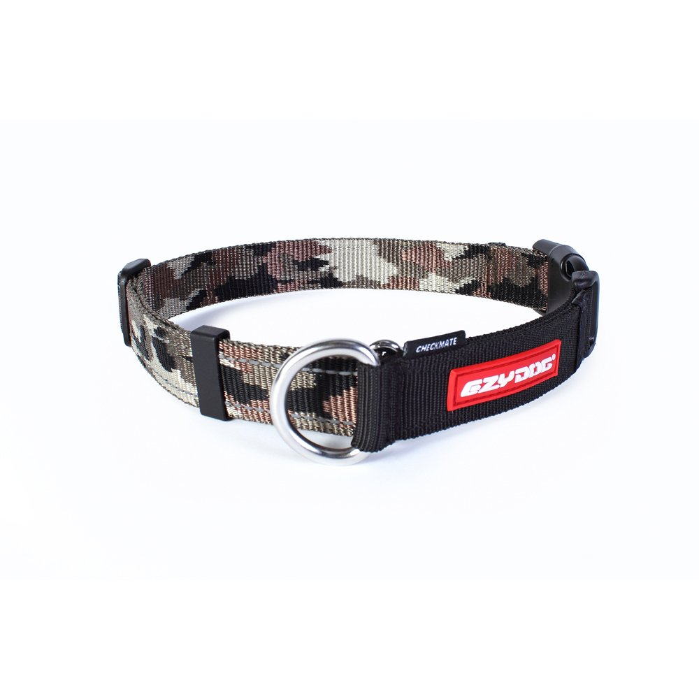 EzyDog Checkmate Martingale-Style Premium Nylon Safety Training and Correction Dog Collar - Quick-Clip Buckle and Reflective Stitching - Easy Control with no Choking Effect (Large, Green Camo)