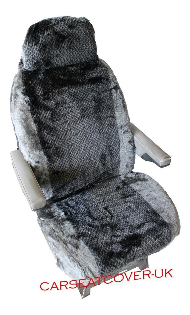 CREAM SHEEPSKIN CHOICE OF 10 FABRICS MOTORHOME SEAT COVERS IN FAUX FUR