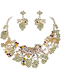 Gold-Tone Austrian Crystal Enamel Forest Leopard Elephant Necklace Earrings Set Multicolor