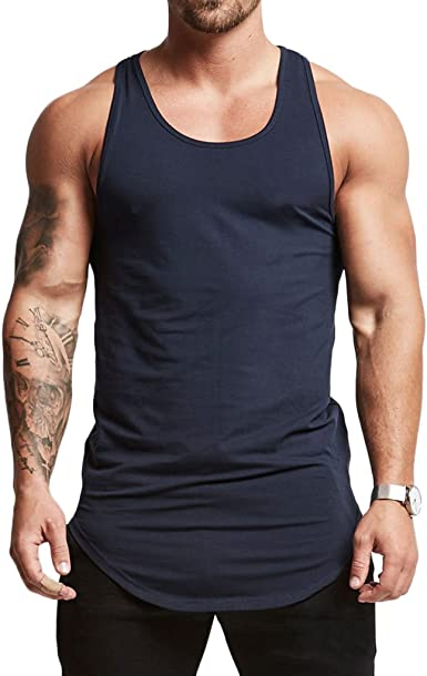Magiftbox Mens Essential Longline Workout Stringer Cotton Tank Tops Gym Shirts Sports Vest T04