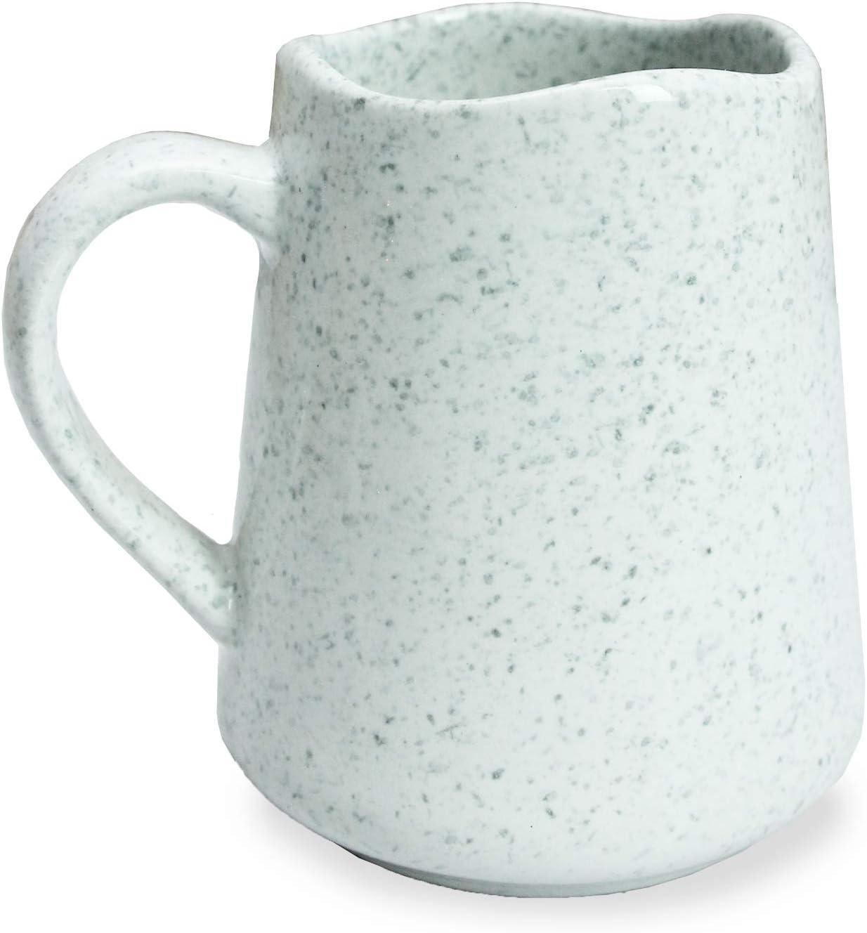 roro Cream White Ceramic Stoneware Speckled Spotted Coffee and Tea Mug, 12 oz cup