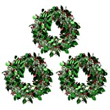 3-Pack Christmas Wreath - Sparkling Tinsel Hanger - Green & Silver (Small Image)
