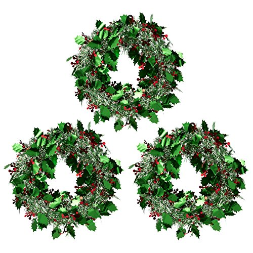 3-Pack Christmas Wreath - Sparkling Tinsel Hanger - Green & Silver (Large Image)
