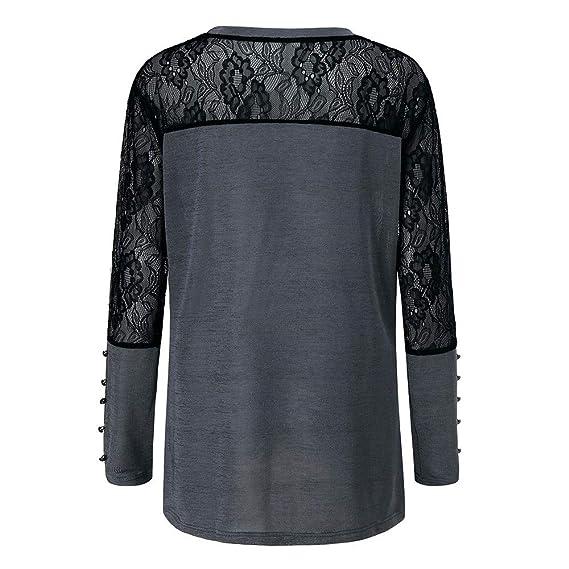 Blusa de Mujer, Manadlian Camiseta Atractiva de Las Mujeres Moda Cuello en O Manga Larga Algodón Elegante Talla Extra: Amazon.es: Ropa y accesorios