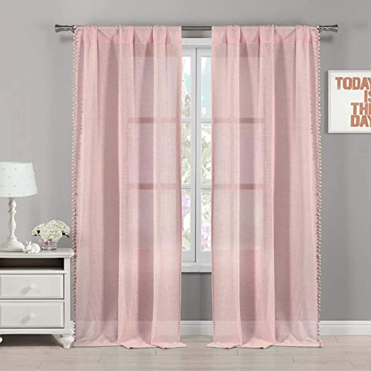 Lala Bash – Addyson PomPom Trim Pole Top Window Curtains for Living Room Bedroom – Assorted Colors – Set of 2 Panels 38 X 84 Inch – Pretty Pink