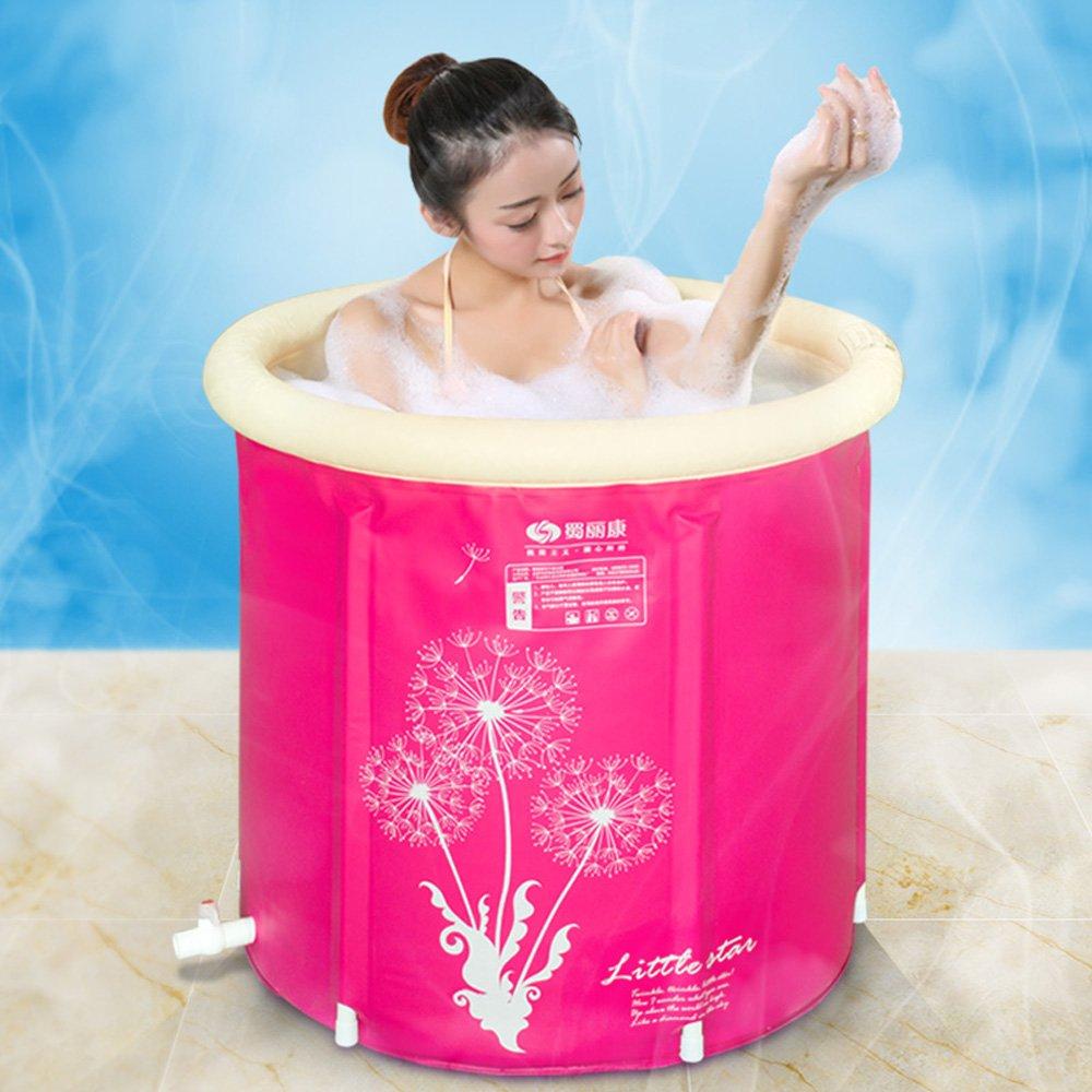 Pumpink Vasca da bagno Vasca da bagno per adulti Vasca da bagno gonfiabile Addensare Staffa in plastica Pieghevole Vasca da bagno Vasca da bagno Vasca da bagno Color : Pink , Dimensione : 65*70