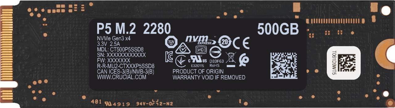 3D NAND, NVMe, PCIe, M.2, 2280SS Crucial P5 1To CT1000P5SSD8 Internes SSD-jusqu/'/à 3400 Mo//s