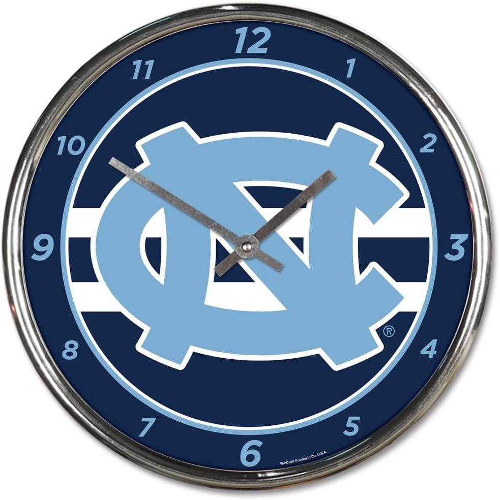 University of North Carolina UNC Tar Heels 12 inch Round Wall Clock Chrome Plated