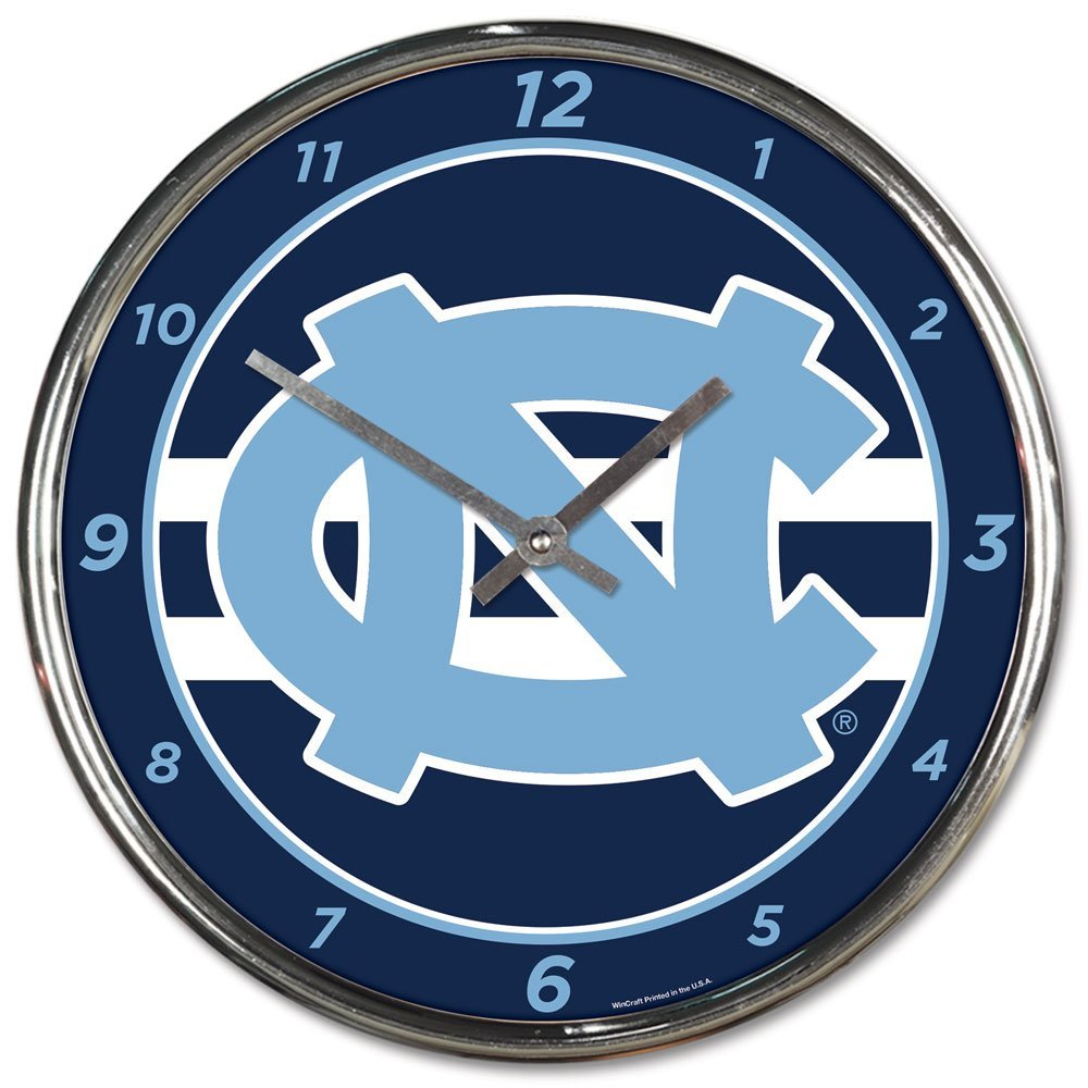 Wincraft University of North Carolina UNC Tar Heels 12 inch Round Wall Clock Chrome Plated by WinCraft