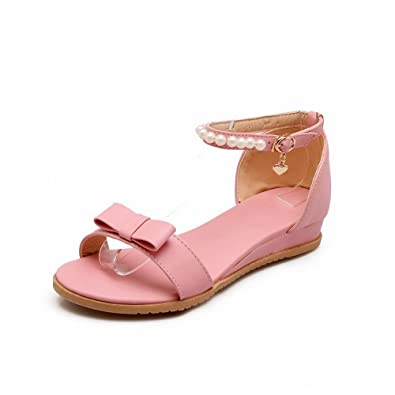 b9579c62cf1fd AllhqFashion Women s PU Solid Buckle Open Toe Low-Heels Wedges-Sandals with  Gem