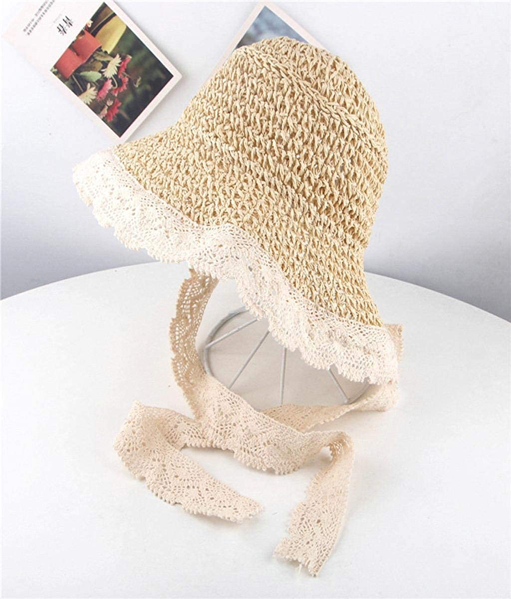 Vertily Parent-Child Style Straw Hat Childrens Summer Lace Stitching Tie with Breathable Visor Straw Hat Summer Baby Girls Lace Children Breathable Hat Straw Hat Kids Girls Hat Cap