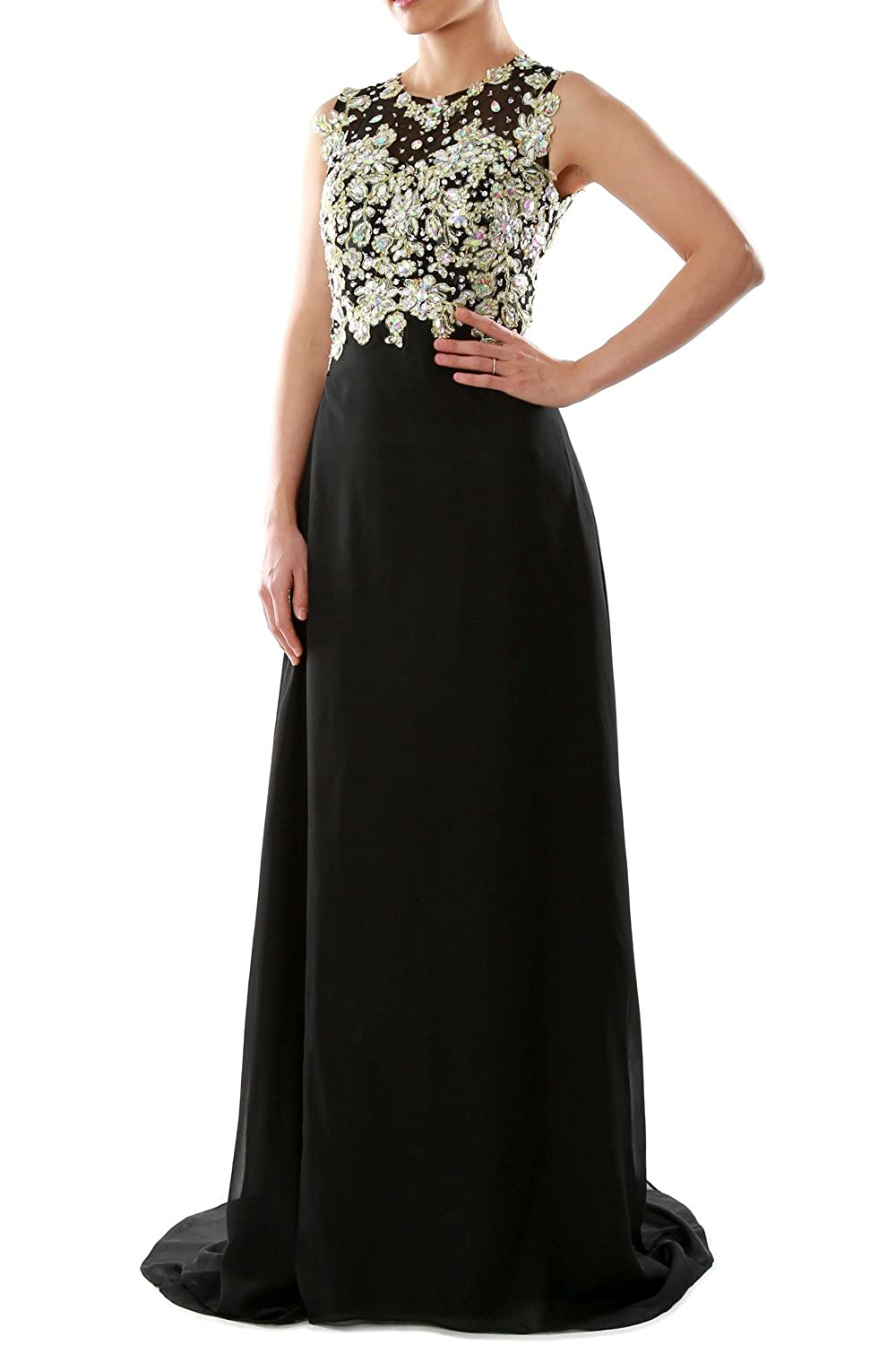 MACloth Women O Neck Gold Lace Chiffon Long Prom Dress Formal Party Evening Gown