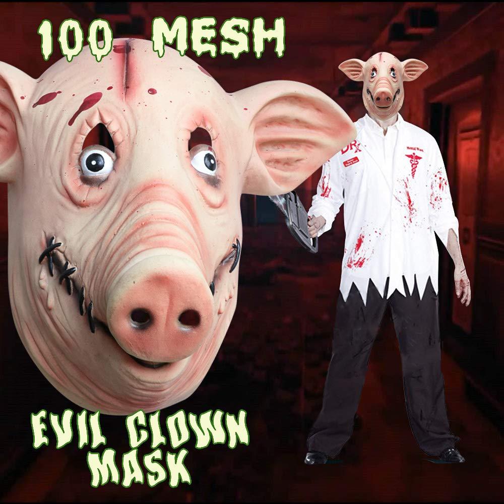 Pig Head Deluxe Novelty Halloween Costume Party Latex Animal Head Mask Pig Monstleo
