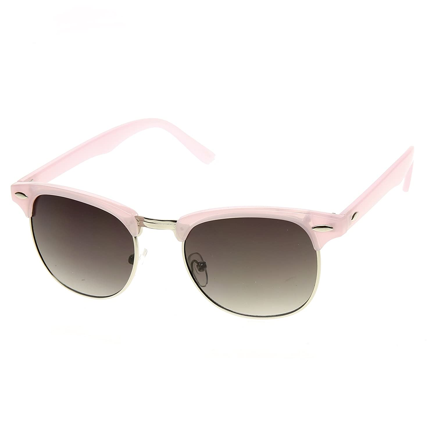 0ccab14332 Amazon.com  Pastel Color Semi-Rimless Half Frame Horn Rimmed Sunglasses  (Lilac)  Clothing