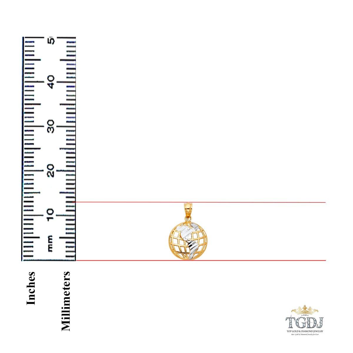 TGDJ 14k Yellow White Gold Global Pendant Height 13 MM Width 13 MM