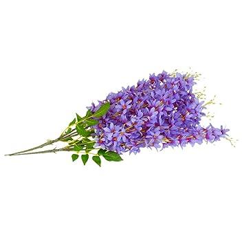 2 Branches Plante Suspendue Guirlande Fleur Lilas Artificiel