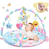 Baby Kick and Play Mat, Hamkaw Baby Play and Sit Mat Newborn Activity Center Lay & Play Piano Gym w/Music and Light for Girls Boys