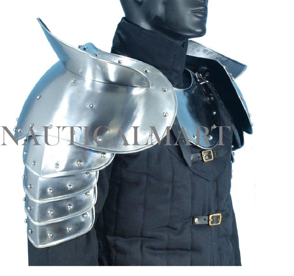 Medieval Gothic Fantasy Shiny Metal Gorget+Shoulder Guard Warrior Pauldron Armor Standard Silver By Nauticalmart