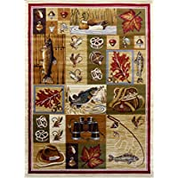 Masada Rugs Nature Area Rug Fishing Equipment Scene (5 Feet 2 inch X 7 Feet 1 inch)