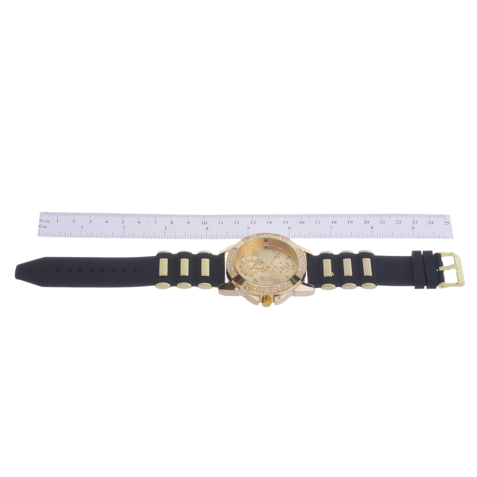 Men's Fashion Hip Hop Bling Iced Out Gold Plated Black Silicon Band Watch WR 8485 GBK by Techno Pave (Image #3)