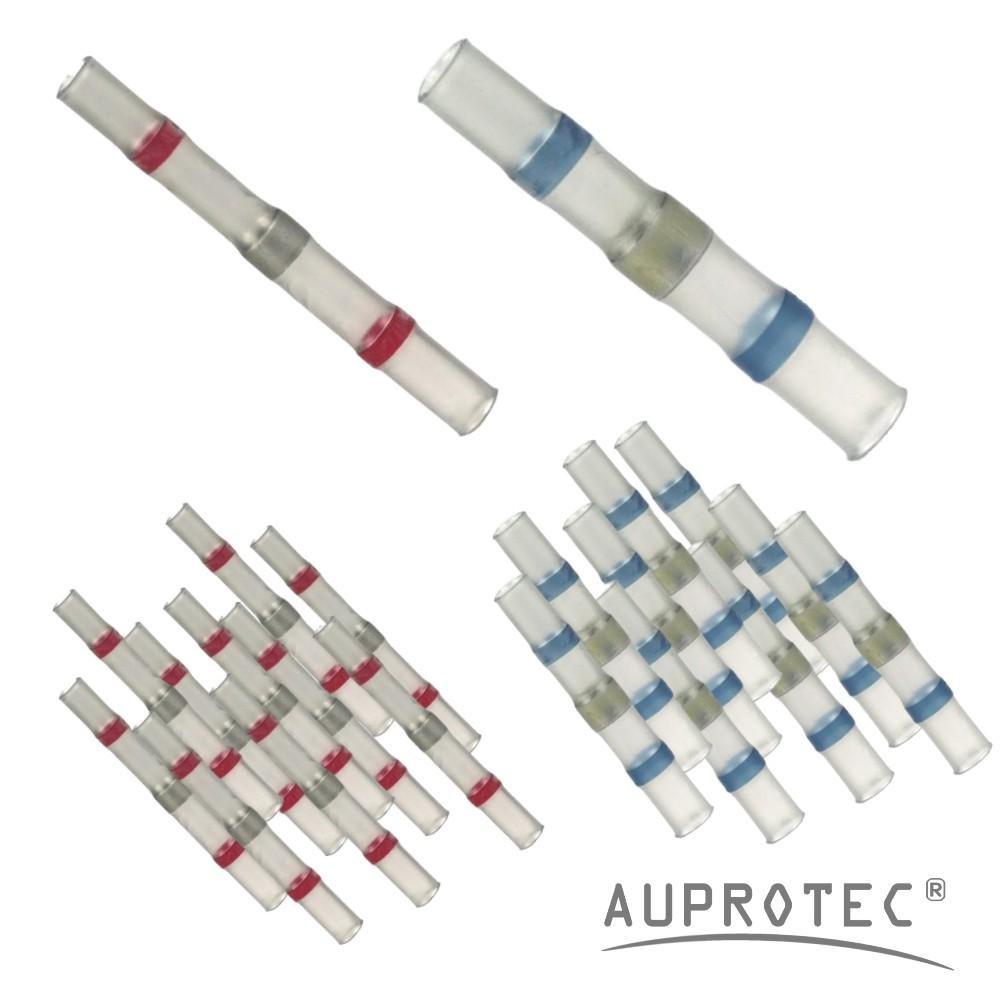 100 Connettori termoretraibili saldanti set assortimento selezione: 70 rosso // 30 blu