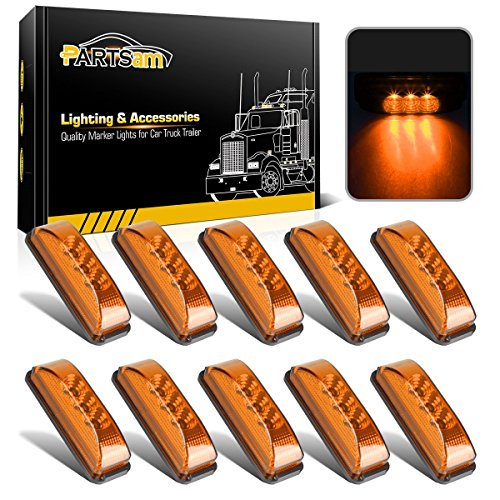 Partsam 10pcs 3.9 inch Amber 3LED Side Marker Light Universal 12V 2 Wires Sealed Assembly, Thinline Faceted LED Trailer Truck Clearance or Side Marker Lights w Mini Reflectors