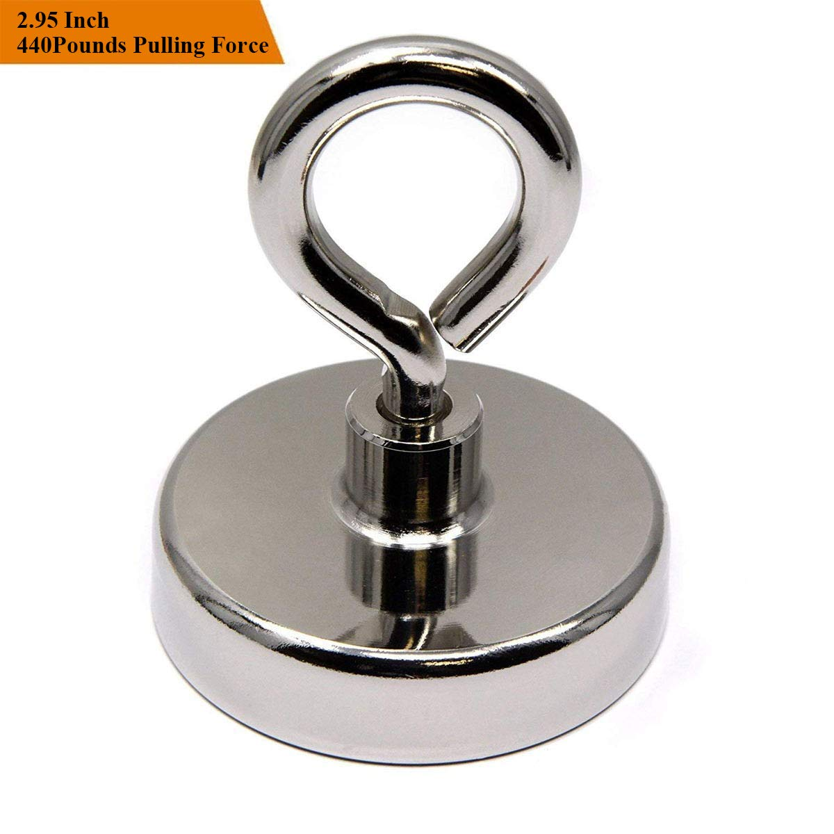 Wukong 440LB(200KG) Super Powerful Neodymium Fishing Magnets Magnetic Grade N52 Diameter 2.95'' Round Neodymium Magnet with Eyebolt - Magnet for River or Lake Fishing by Wukong (Image #1)